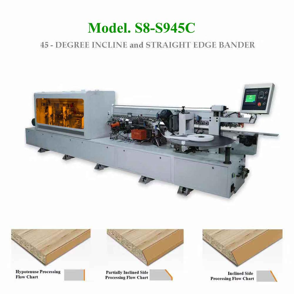 Máy dán cạnh vát nghiêng 45 độ và thẳng 90 độ loại 1 nồi keo S8-S945C