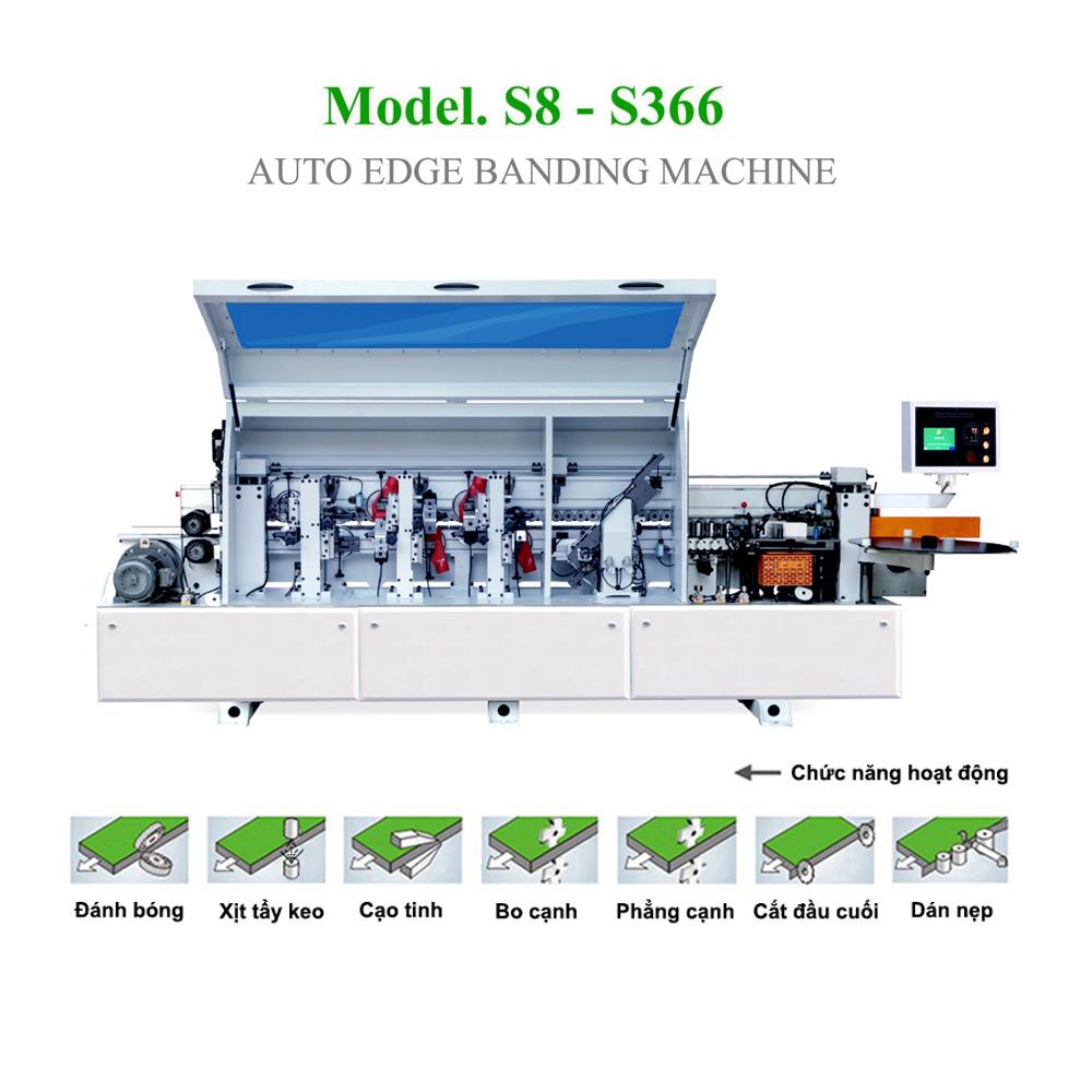 Máy dán cạnh tự động 6 chức năng có xịt tẩy keo S8 - S366